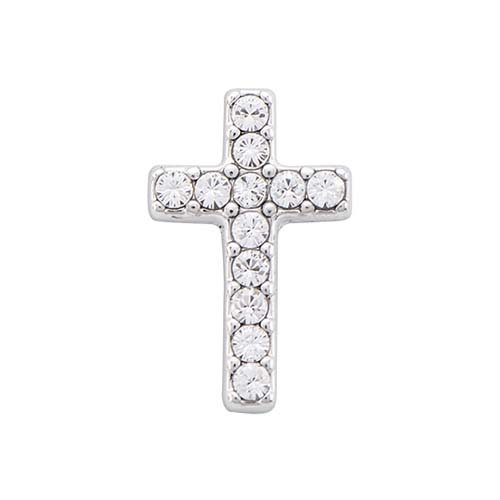 BS1021 Silver Cross Bracelet Slider with Swarovski Crystals V1 copy